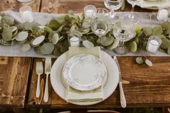 Reception Table Eucalyptus Garland Place Setting