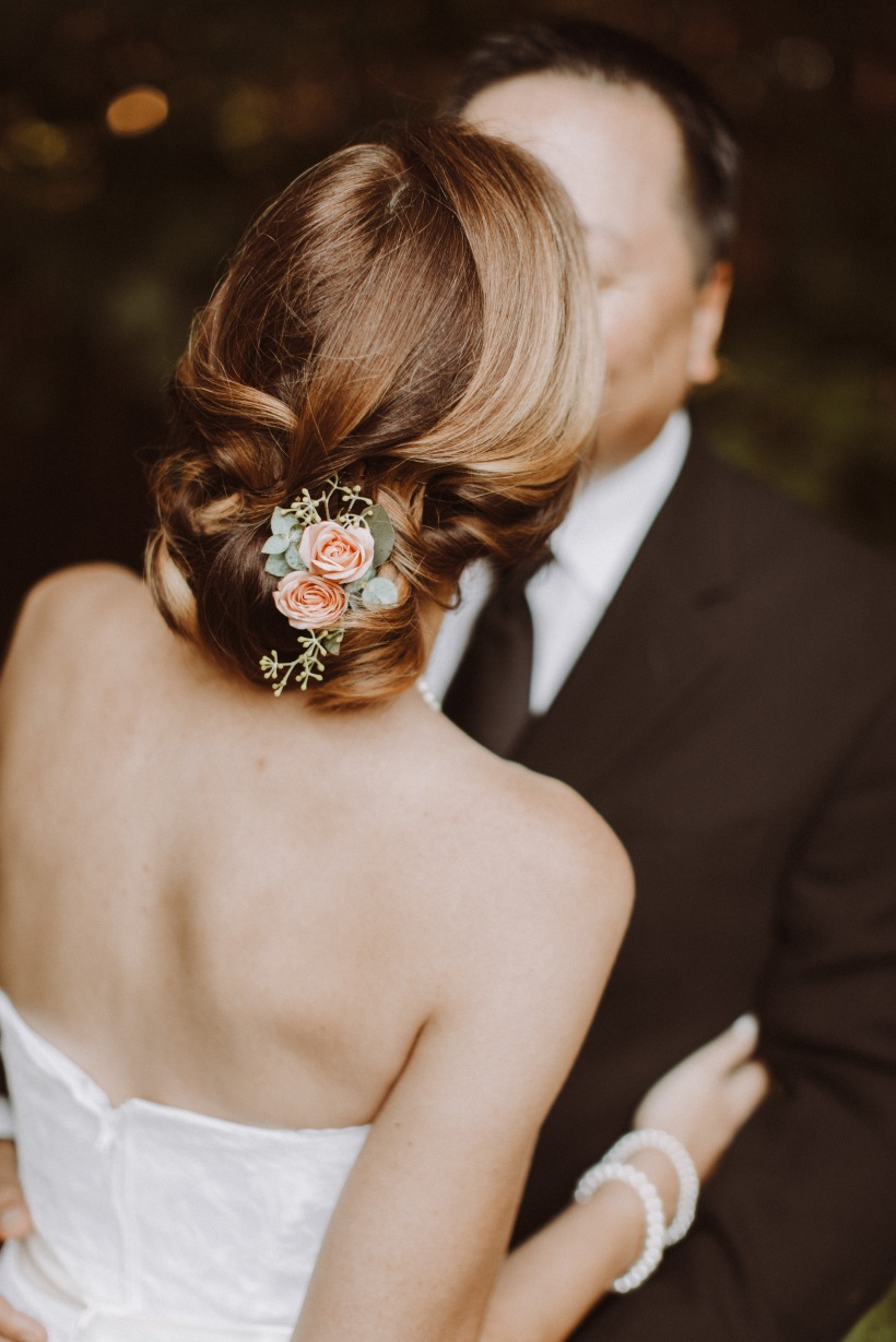 Peach Miniature Rose Bridal Hair Flowers with Seeded Eucalyptus