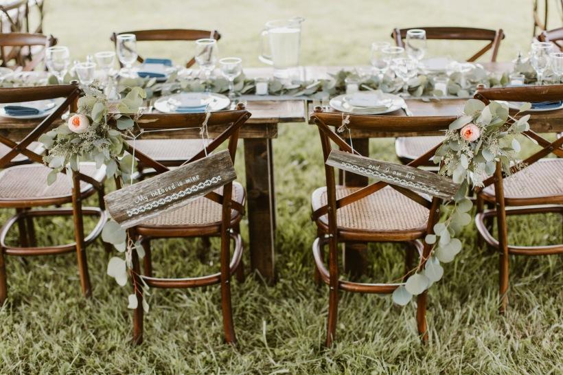 Peach Garden Rose and Eucalyptus Sweetheart Chair Garlands