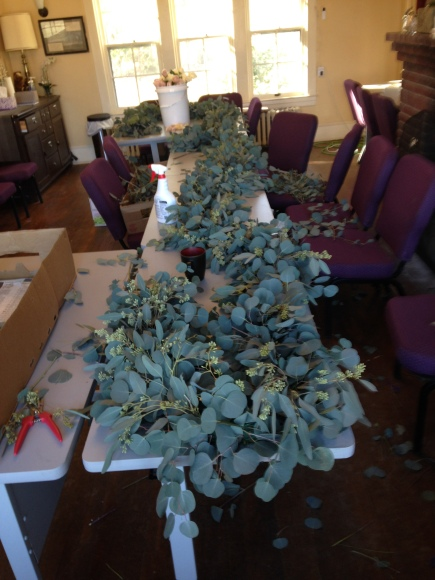 long eucalyptus wedding ceremony garland