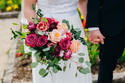 Peach and Plum Rose Bridal Bouquet